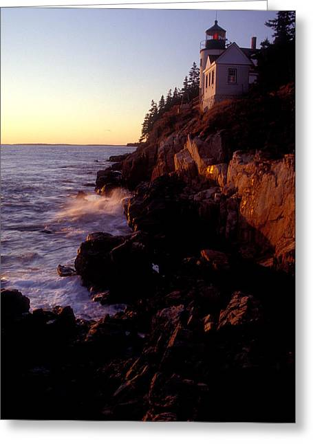 Sunset At Bass Harbor Lighthouse Greeting Card by Brent L Ander