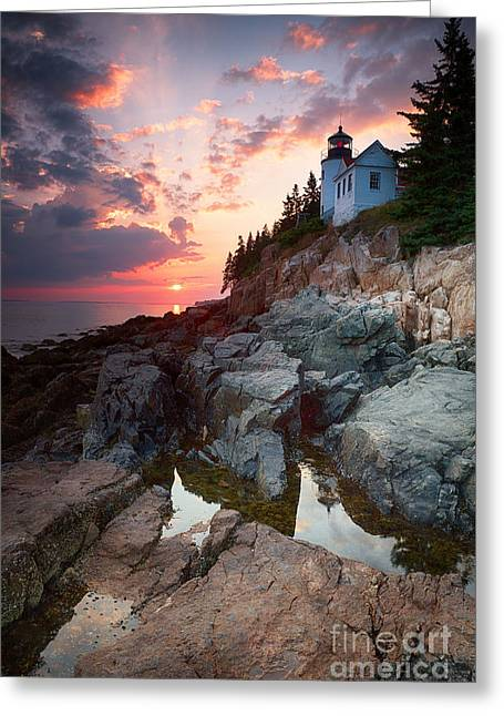 Sunset At Bass Harbor Lighthouse Greeting Card