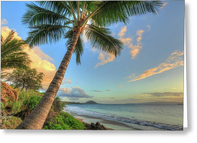Sunset At Beach, Wailea, Maui, Hawaii Greeting Card by Stuart Westmorland
