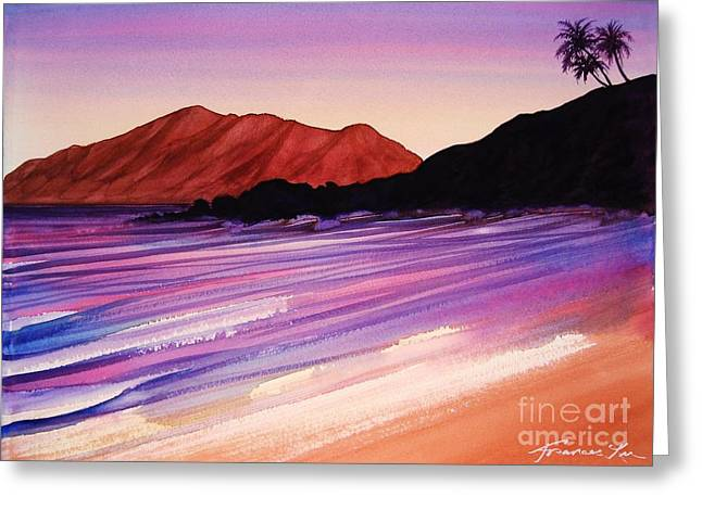 Sunset At Black Rock Maui Greeting Card