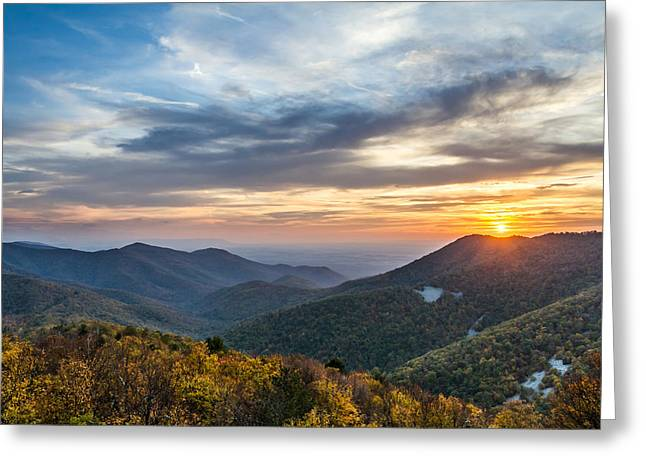 Sunset At Blackrock Mountain Shenandoah National Park Greeting Card by Pierre Leclerc Photography