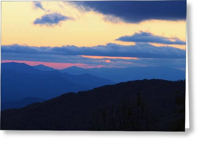 Sunset At Blue Ridge Parkway In North Carolina Greeting Card