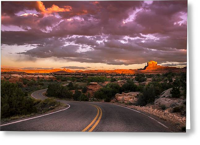 Sunset At Canyon Lands Greeting Card by Michael J Bauer