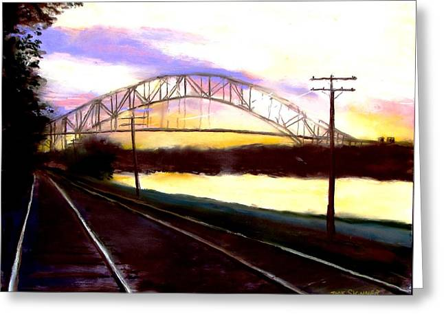 Sunset At Cape Cod Canal Greeting Card by Jack Skinner