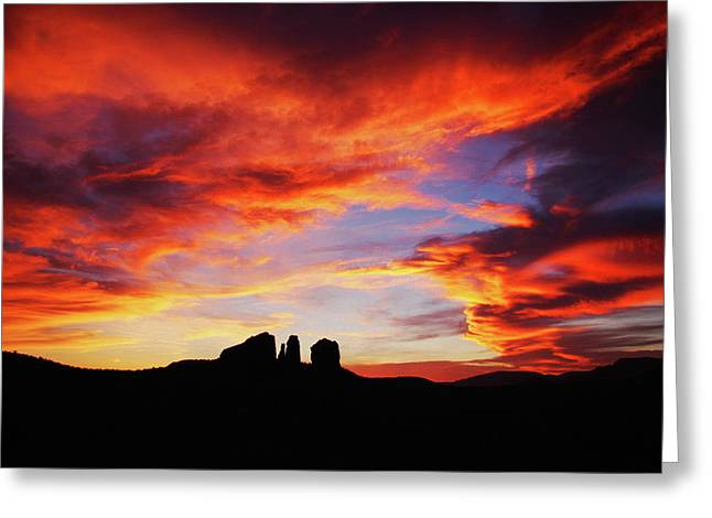 Greeting Card featuring the photograph Sunset At Cathedral by Tom Kelly