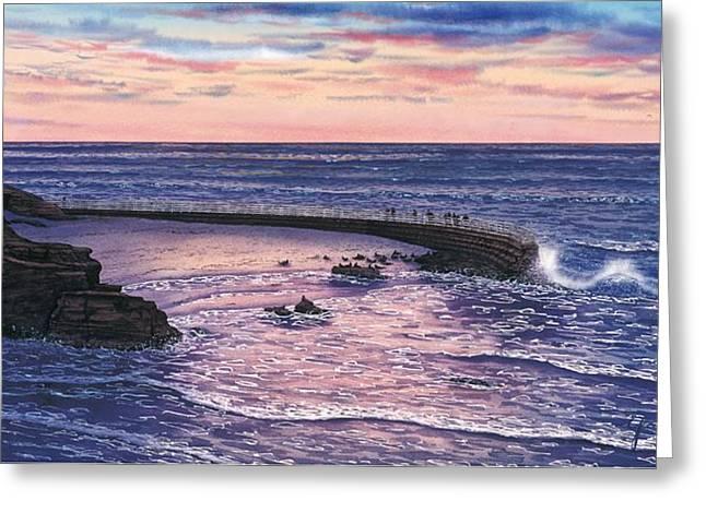 Sunset At Children's Pool Greeting Card by John YATO