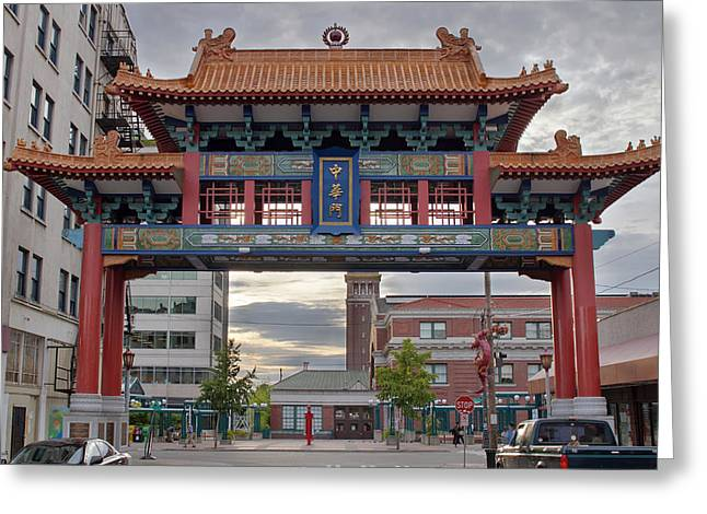 Greeting Card featuring the photograph Sunset At Chinatown Gate In Seattle Washington by JPLDesigns