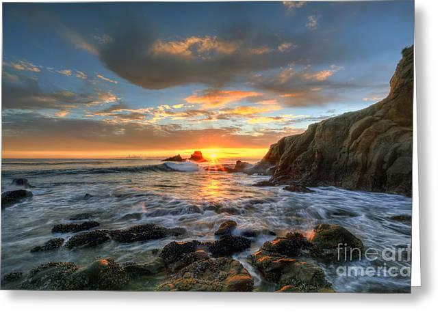 Sunset At Crescent Bay Beach Greeting Card by Eddie Yerkish