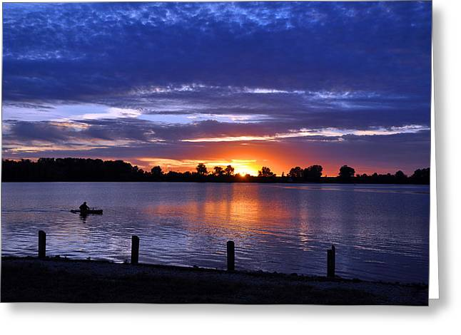 Sunset At Creve Coeur Park Greeting Card