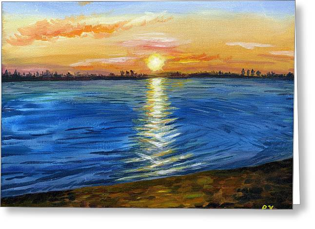Greeting Card featuring the painting Sunset At Creve Coeur Park by Ping Yan