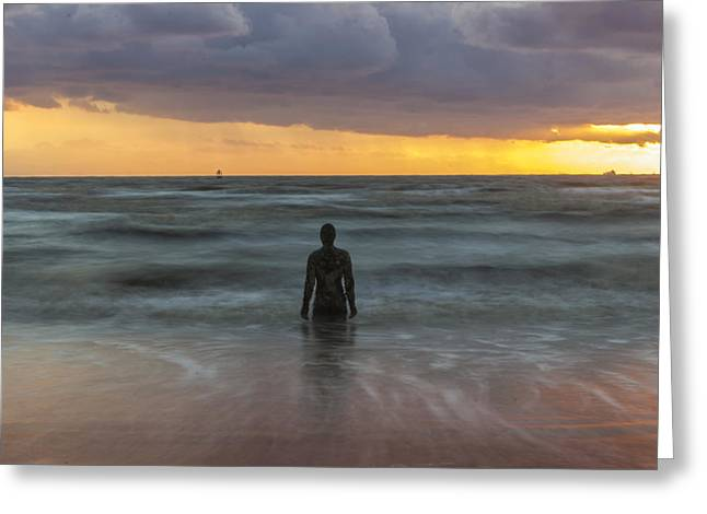 Sunset At Crosby Beach Liverpool Greeting Card by Paul Madden