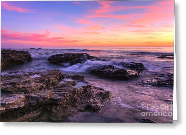 Sunset At Crystal Cove Greeting Card by Eddie Yerkish