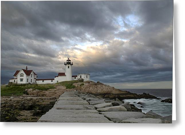 Sunset At Eastern Point Lighthouse Greeting Card