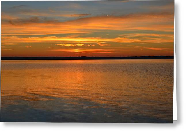 Sunset At Elk Rapids Michigan Greeting Card by Dave Zuker