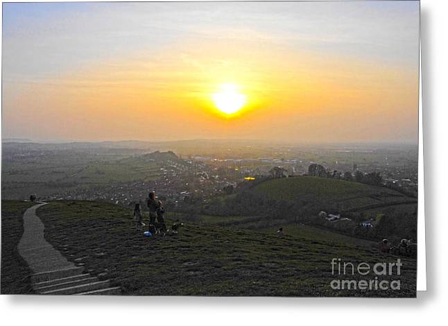 Sunset At Glastonbury Tor Greeting Card