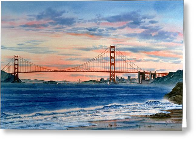 Sunset At Golden Gate Bridge Greeting Card by John YATO