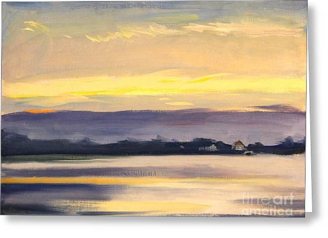 Sunset At Hamlin Lake 1944 Greeting Card