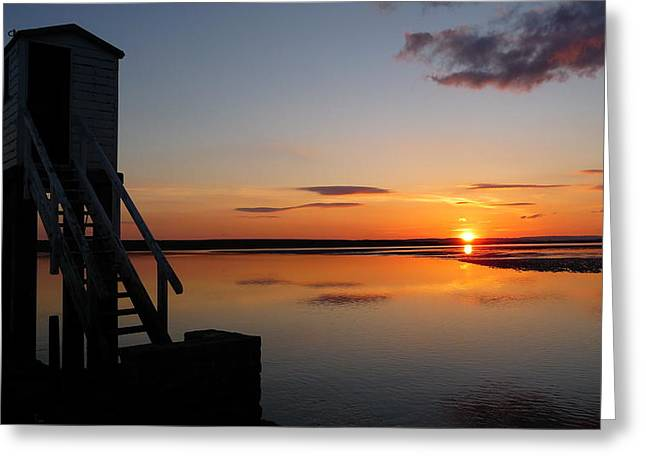 Sunset At Holy Island Greeting Card