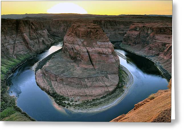 Sunset At Horseshoe Bend Greeting Card by Dan Myers