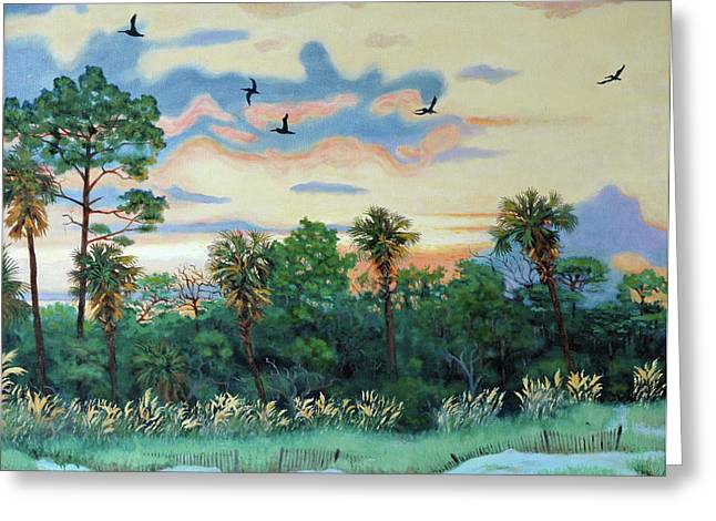 Greeting Card featuring the painting Sunset At Hunting Island by Dwain Ray