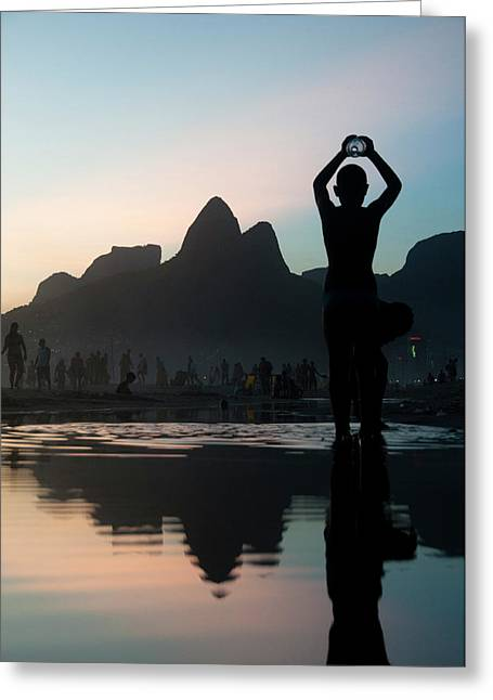 Sunset At Ipanema Beach, Rio De Greeting Card by Kevin Berne