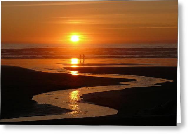 Sunset At Kalaloch Greeting Card by Joel Deutsch