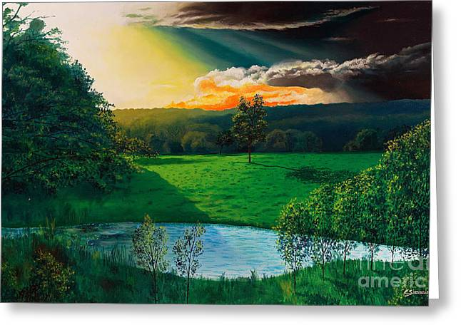 Sunset At L Hermitiere Greeting Card by Christian Simonian