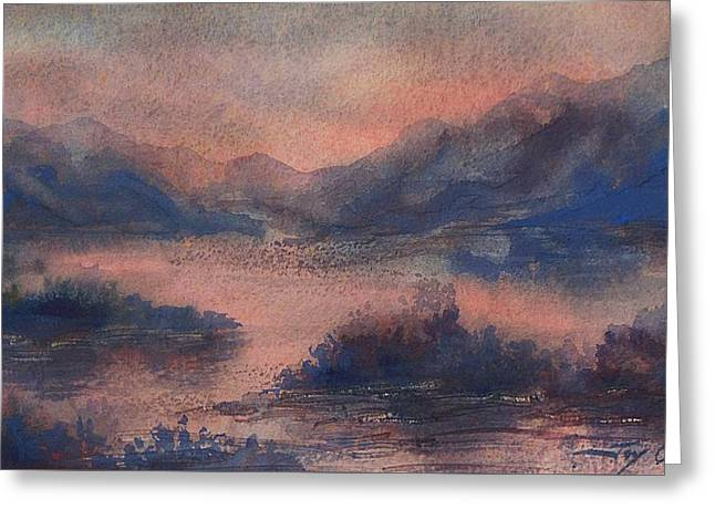 Greeting Card featuring the painting Sunset At Lake Champlain by Joy Nichols