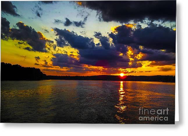Greeting Card featuring the photograph Sunset At Lake Logan Martin by Ken Johnson