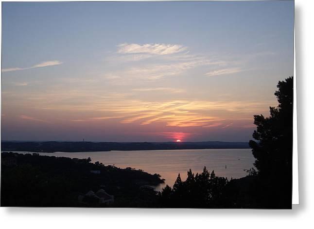 Sunset At Lake Travis Greeting Card by Cindy Croal