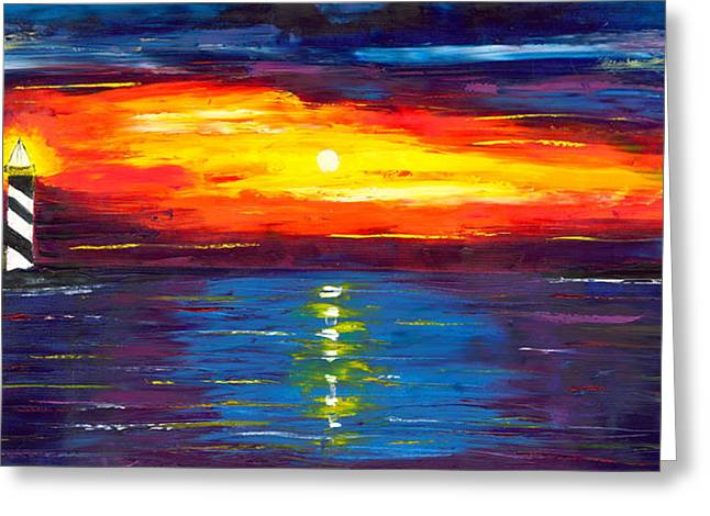 Sunset At Lighthouse Point Greeting Card by Jessilyn Park