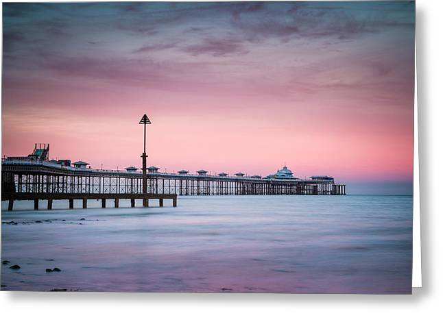 Sunset At Llandudno Pier Greeting Card by Christine Smart