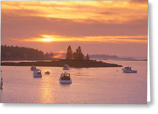 Ocean Shore Greeting Cards - Sunset At Lobster Village, Port Clyde Greeting Card by Panoramic Images