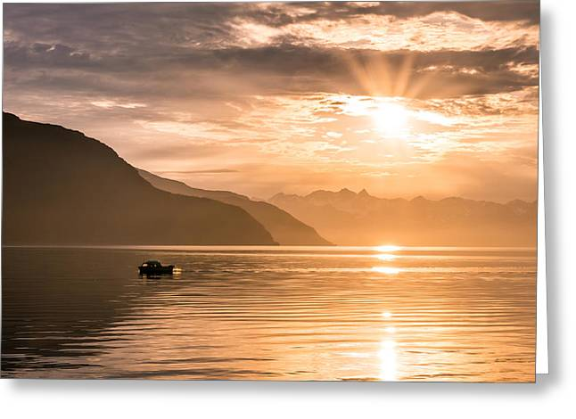 Sunset At Lyngenfjord Greeting Card by Janne Mankinen