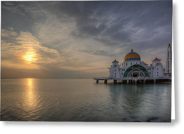 Sunset At Malacca Straits Mosque Greeting Card by David Gn
