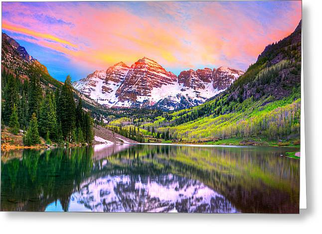 Sunset At Maroon Bells And Maroon Lake Aspen Co Greeting Card