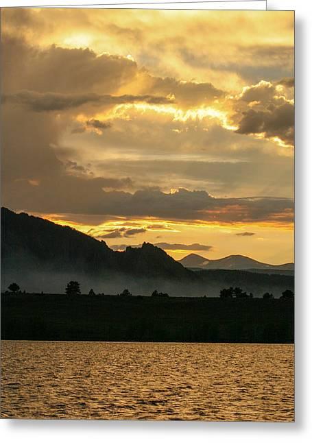 Smokey Sunset At Marshall Lake Greeting Card