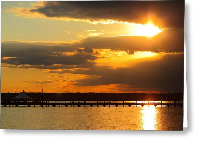 Sunset At National Harbor Greeting Card