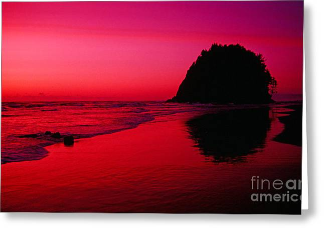 Sunset At Neskowin Beach- Proposal Rock Greeting Card