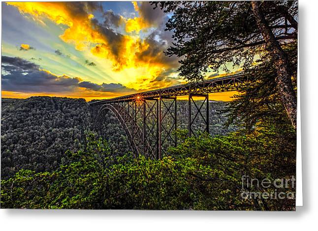 Sunset At New River Gorge Bridge Greeting Card by Mark East