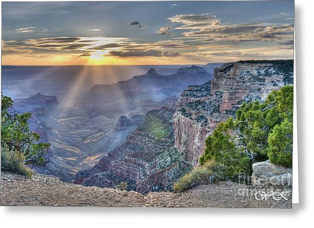 Sunset At Northern Rim Of The Grand Canyon Greeting Card