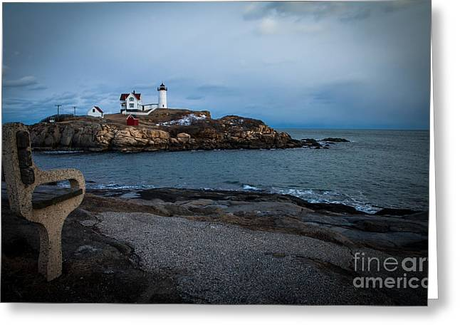 Sunset At Nubble Light House Greeting Card by Sue OConnor