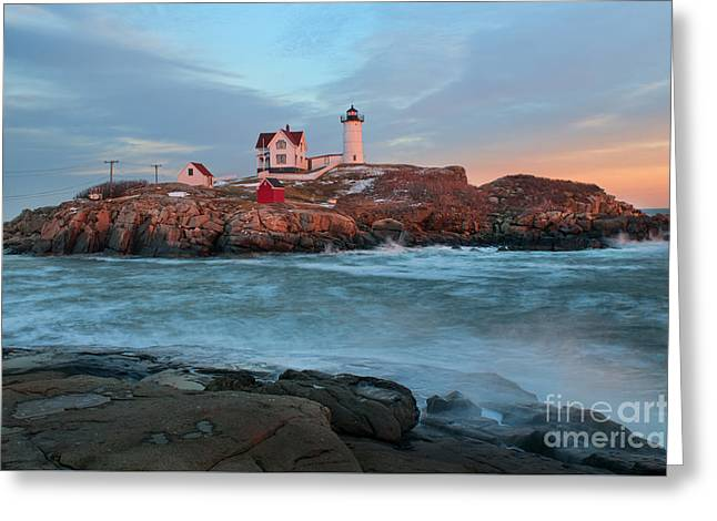 Sunset At Nubble Lighthouse Greeting Card