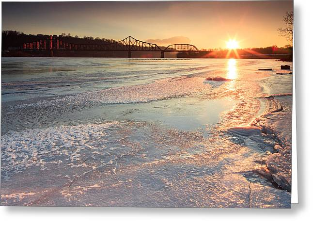 Sunset  At Ohio River  Greeting Card