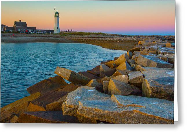 Sunset At Old Scituate Lighthouse Greeting Card