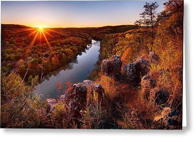 Sunset At Paint-rock Bluff Greeting Card