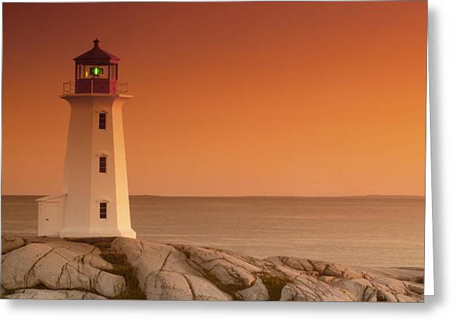 Sunset At Peggy's Cove Lighthouse Greeting Card by Norman Pogson