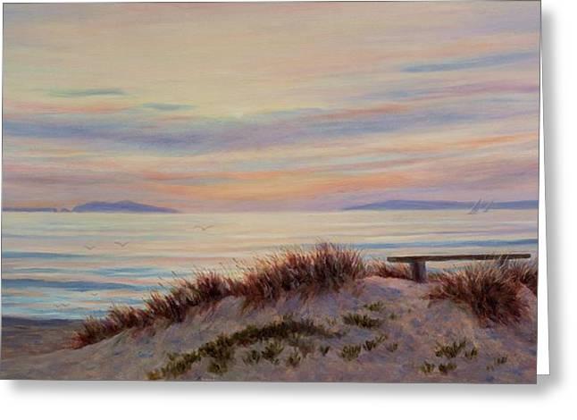 Sunset At Pierpont Beach Greeting Card by Tina Obrien