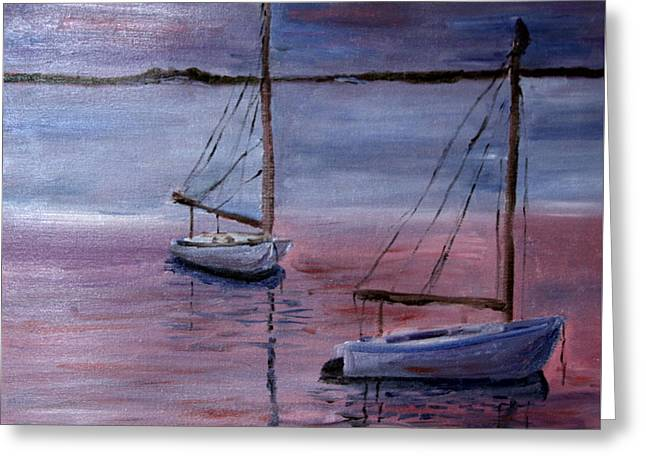 Greeting Card featuring the painting Sunset At Pleasant Bay by Michael Helfen