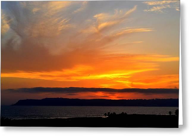 Sunset At Point Loma From Coronado California Greeting Card